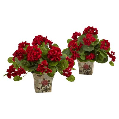 """11"""" Geranium Flowering Silk Plant with Floral Planter (Set of 2) - Nearly Natural"""