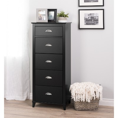 Yaletown 5 Drawer Tall Chest Black - Prepac