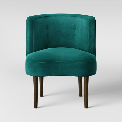 Clary Curved Back Accent Chair Velvet Teal - Opalhouse™