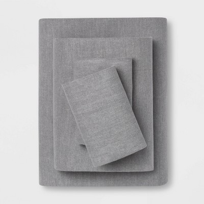 King Solid Flannel Sheet Set Gray - Threshold™