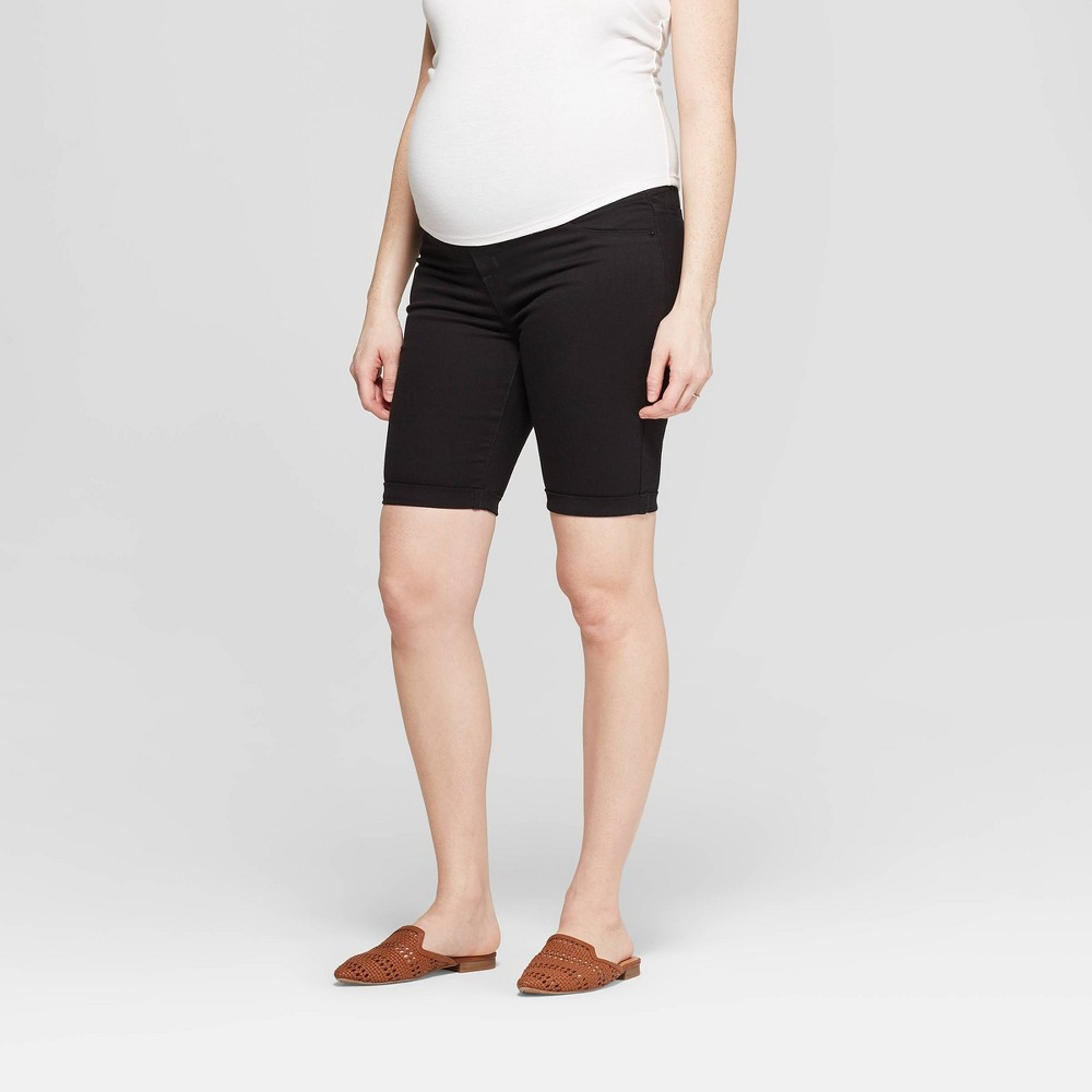 Maternity Side Panel Bermuda Jean Shorts - Isabel Maternity by Ingrid & Isabel Black 18, Women's