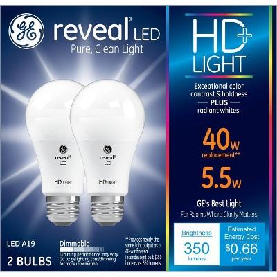 General Electric 2pk 40W A19 LED Light Bulb White