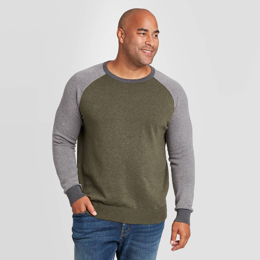 Best Men's Colorblock Big & Tall  Regular Fit Crewneck Sweater - Goodfellow & Co™ Olive Heather