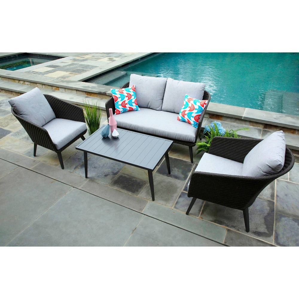 Image of Willow 4pc Sunbrella Deep Seating Set Gray - Canopy Home and Garden