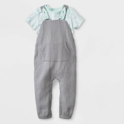 Baby Boys' Bunny Bodysuit/Long Romper Set - Cat & Jack™ Gray/Green Newborn