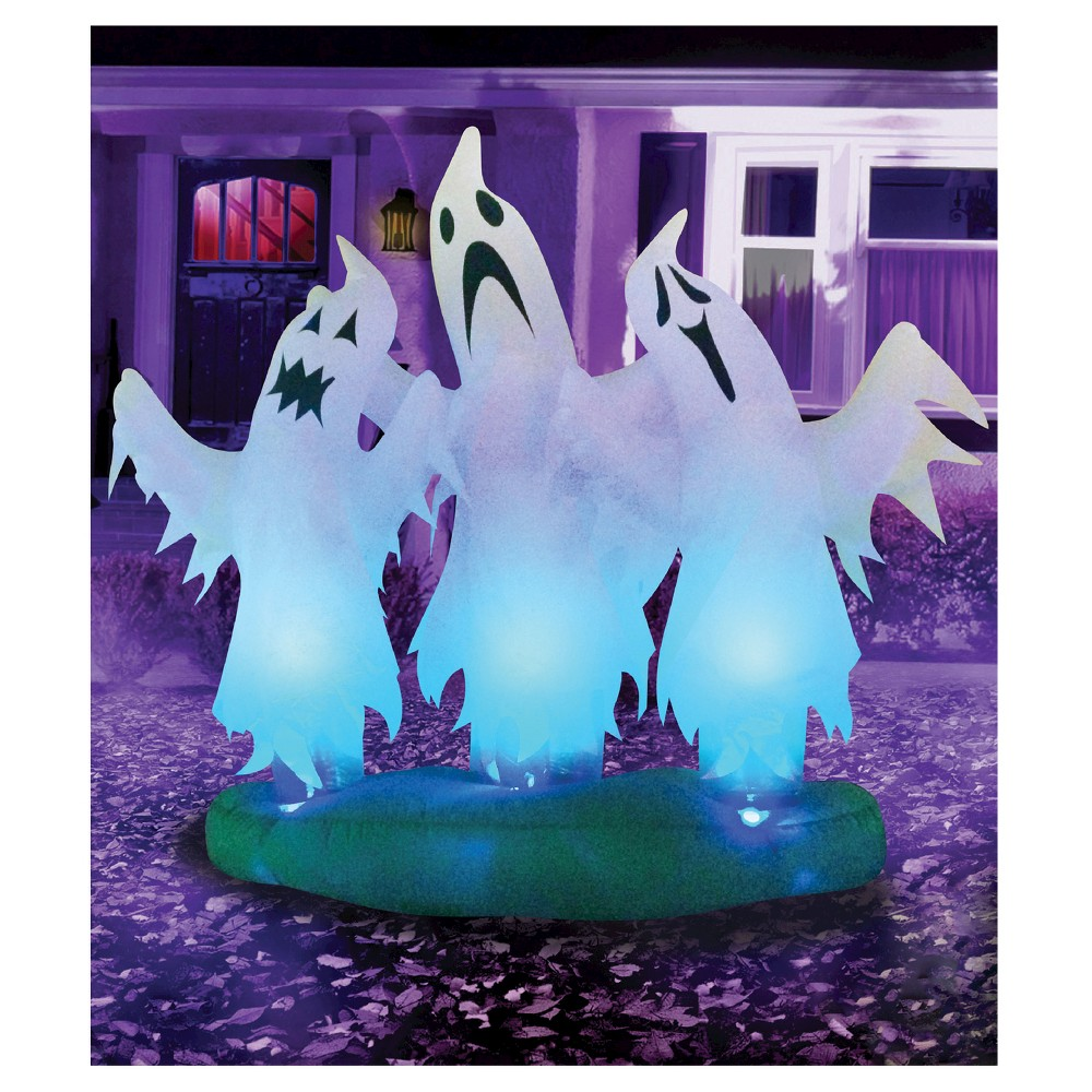 Image of 6ft Halloween Inflatable Three Floating Ghosts, White