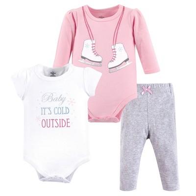 Little Treasure Baby Girl Cotton Bodysuit and Pant Set, Ice Skates