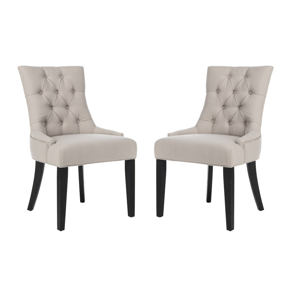 Abby Side Chair Wood/Taupe (Brown) (Set of 2) - Safavieh