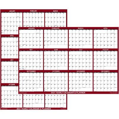"2021 Wall Calendar Portable 24""x36"" Maroon - SwiftGlimpse"