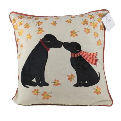 """Home Decor 16.0"""" Puppy Love Pillow Fall ;Leaves Black Lab  -  Decorative Pillow"""