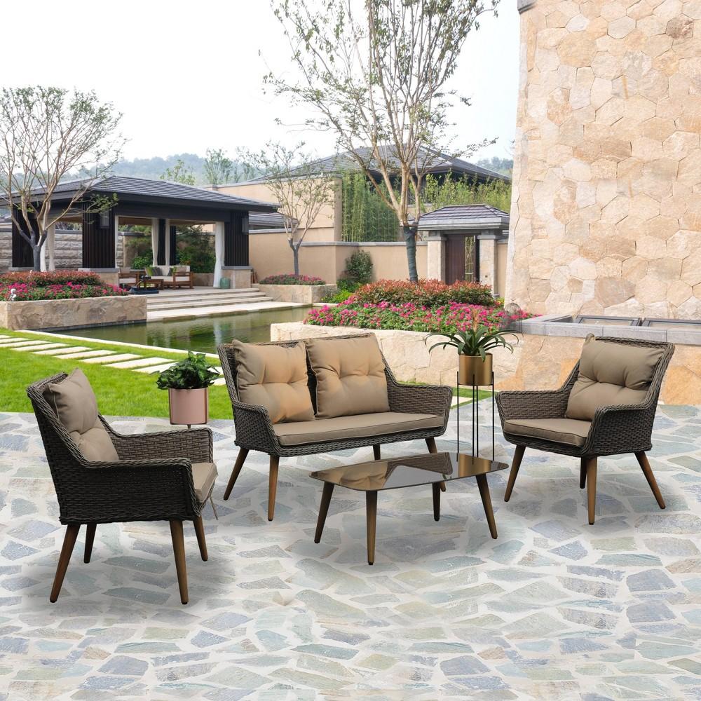 Image of 4pc Wicker Patio Seating Set With Cushions Khaki - Nuu Garden