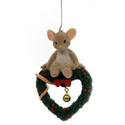 """Charming Tails 3.0"""" 2017 Annual Ornament Dated Mouse Heart Bell  -  Decorative Figurines"""