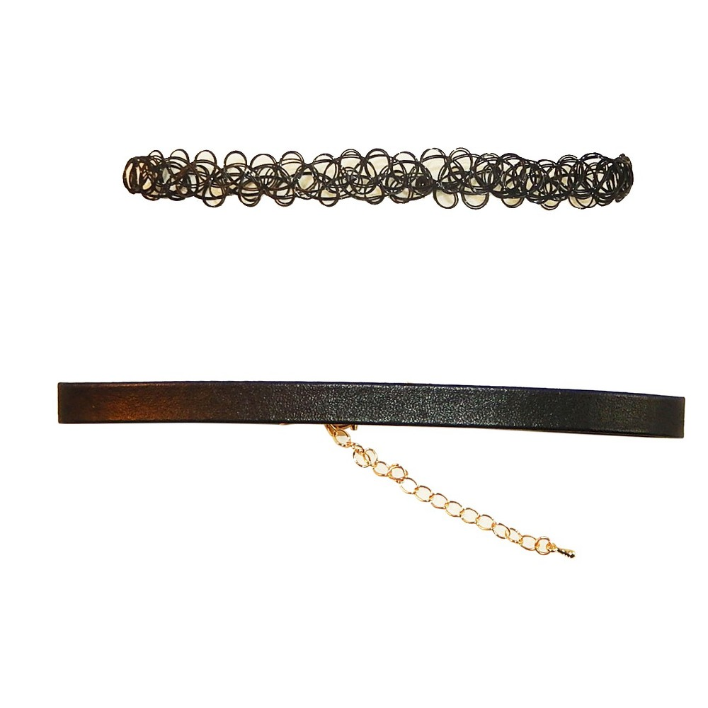 Women's Choker 2 piece Set - Black Nylon and Faux Leather Necklace