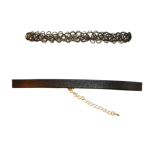 "Black 1/2"" Wide Stretch Tattoo & 3/8"" Faux Leather Choker Set - image 1 of 1"