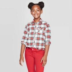 Girls' Plaid Woven Button-Down Shirt - Cat & Jack™ Cream