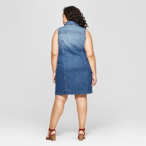 df84647a09c Women s Plus Size Sleeveless Collared Denim Dress - Universal Thread™ Blue