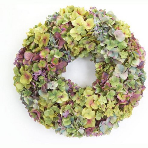 """Melrose 20"""" Unlit Yellow/Green Hydrangea Flower Artificial Spring Floral Wreath - image 1 of 1"""