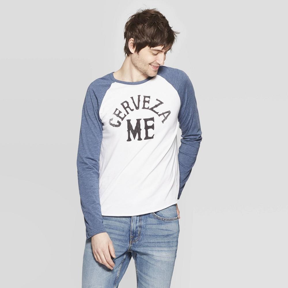 Men's Long Sleeve Cerveza Me Raglan Graphic T-Shirt Awake Heather White/Blue L, Gray