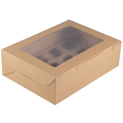 """Juvale 12-Pack Kraft Paper Cupcake Carrier Box, Pastry Box Take Out Containers with 12-Inserts & Window, 14""""x4""""x10"""", Brown"""