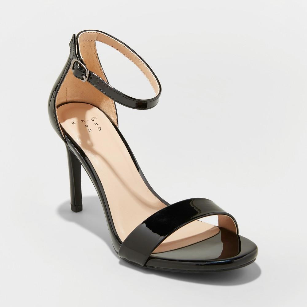 Women's Myla Wide Width Faux Leather Stiletto Heeled Pump Sandal - A New Day Black 8W, Size: 8 Wide, Black Pu