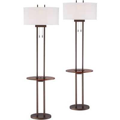 Franklin Iron Works Roscoe Bronze Twin Pole USB Tray Floor Lamps Set of 2