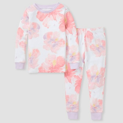 Burt's Bees Baby® Toddler Girls' 2pc Floral Snug Fit Pajama Set - Purple