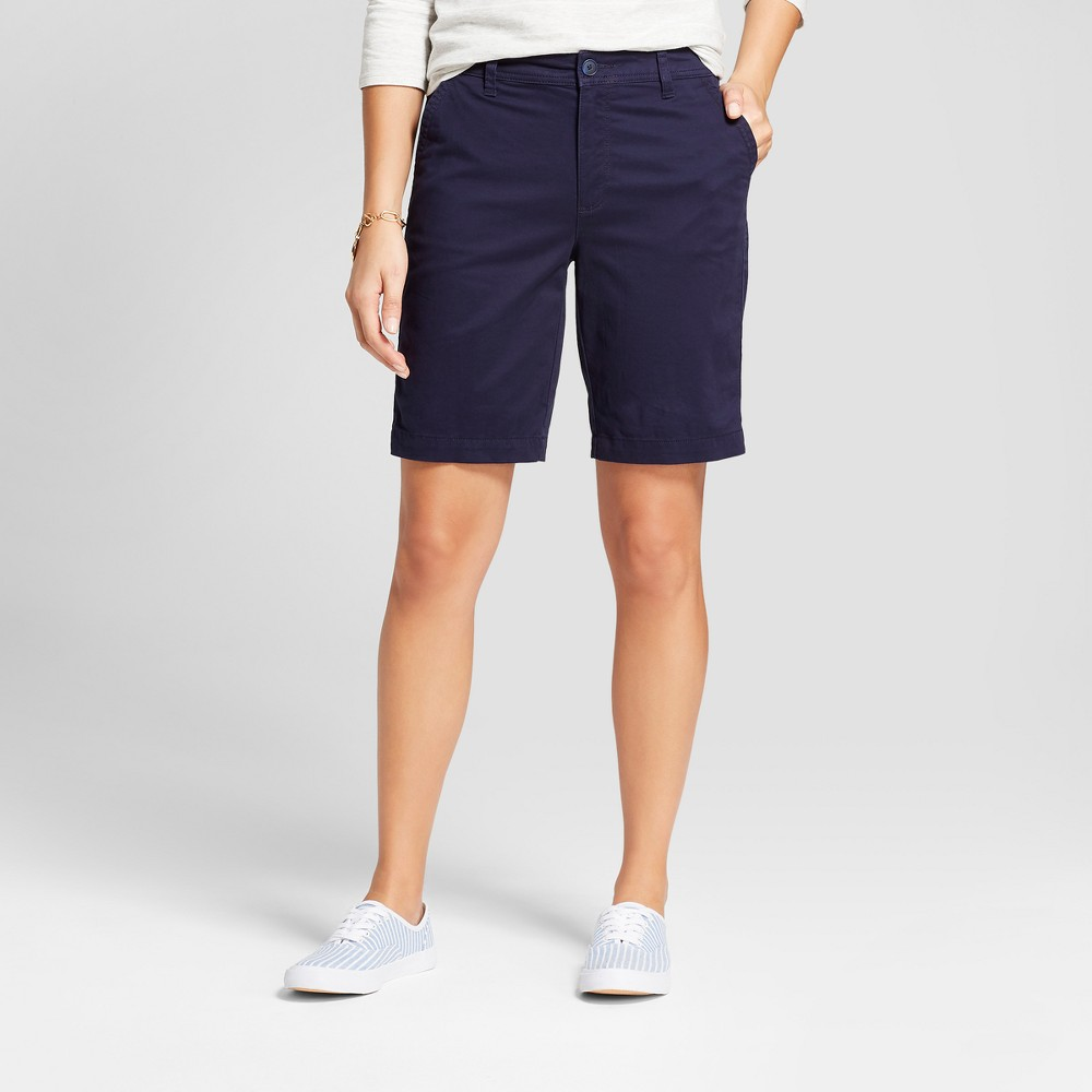 Women's 9 Chino Shorts - A New Day Navy (Blue) 0