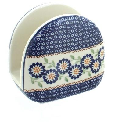 Blue Rose Polish Pottery Peach Blossom Napkin Holder