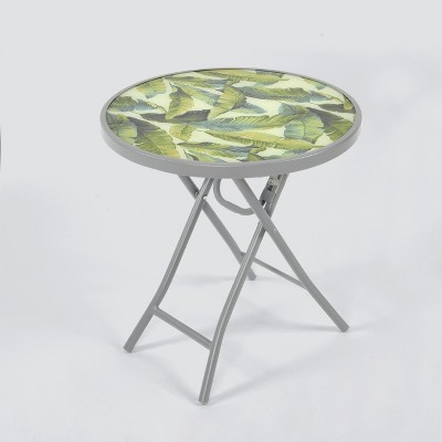 Folding Patio Accent Table Green/White Leaf - Threshold™