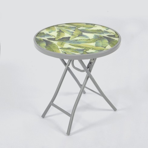 Folding Patio Accent Table Green/White Leaf - Threshold™ - image 1 of 1