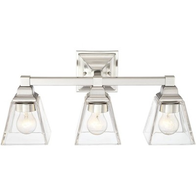 "Regency Hill Modern Wall Light Satin Nickel Hardwired 20"" Wide 3-Light Fixture Clear Glass for Bathroom Vanity"