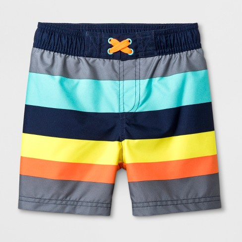 9eafb2718f Toddler Boys' Striped Swim Shorts - Cat & Jack™ Gray : Target