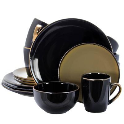16pc Stoneware Solid Dinnerware Set Black/Taupe - Elama