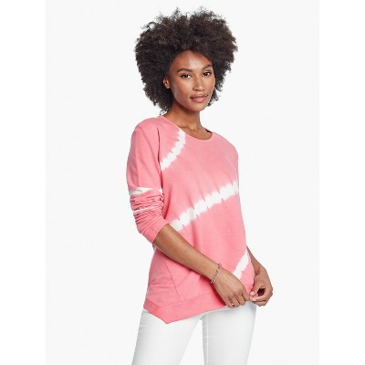 NIC+ZOE Womens Tie Dye Design Long Sleeve Round Pullover Sweater - Pink Small