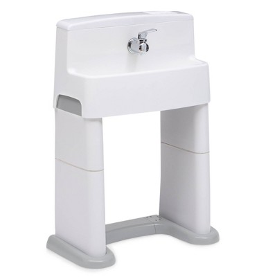 Delta Children PerfectSize 3-in-1 Convertible Sink, Step Stool and Bath Toy for Toddlers/Kids' Perfect For Potty Training - White/Gray