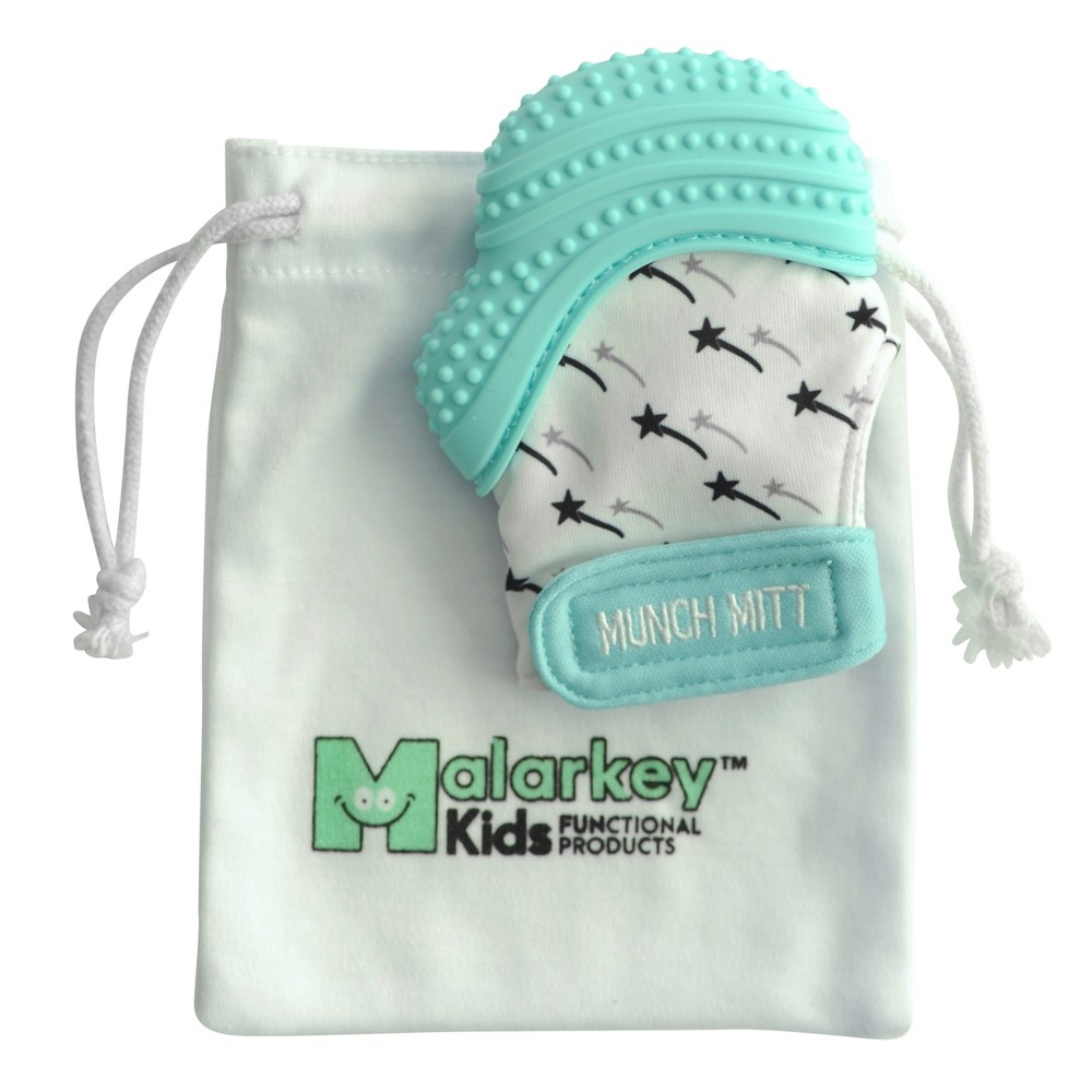 Image of Malarkey Kids Munch Mitt Teether with Wash Travel Bag - Teal