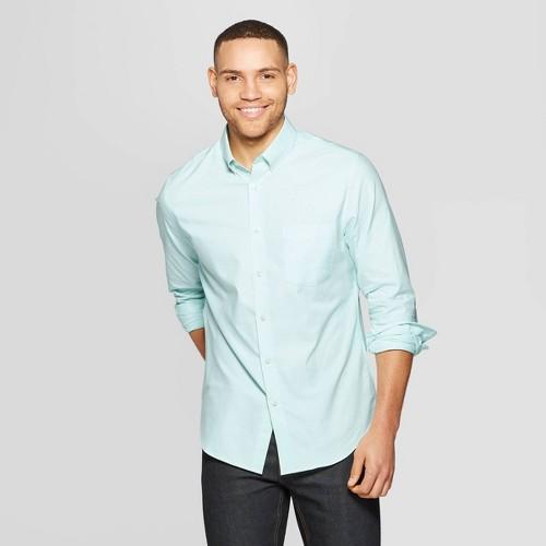 Men's Standard Fit Long Sleeve Whittier Oxford Button-Down Shirt - Goodfellow & Co Alpine S, Green