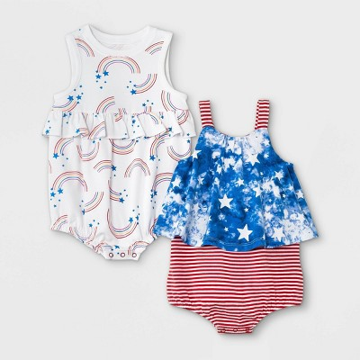 Baby Girls' 2pk Rainbow Romper - Cat & Jack™ Blue Newborn