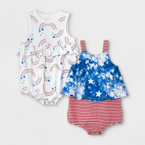 Baby Girls' 2pk Rainbow Romper - Cat & Jack™ Blue - image 1 of 2