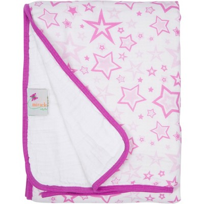 MiracleWare Muslin Baby Blanket Stars Pink