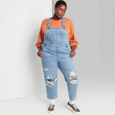 Women's Oversized Distressed Overalls - Wild Fable™ Medium Wash