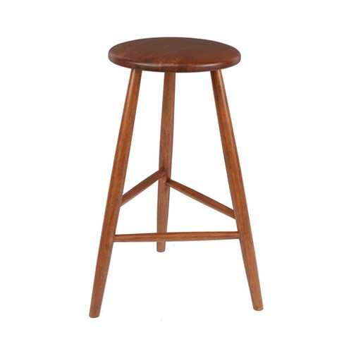 Super 24 Norris Backless Mid Century Wood Barstool Brown Silverwood Cjindustries Chair Design For Home Cjindustriesco