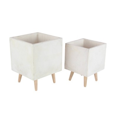 Set of 2 Contemporary Fiber Clay Planters with Wooden Stand - Olivia & May