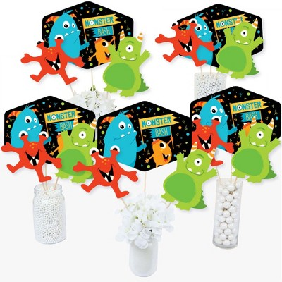 Big Dot of Happiness Monster Bash - Little Monster Birthday Party or Baby Shower Party Centerpiece Sticks - Table Toppers - Set of 15