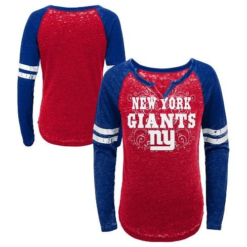 eaa290de NFL New York Giants Girls' Fashion Team Alt Color Burnout Long Sleeve  T-Shirt
