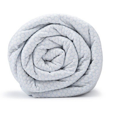 """48""""x74"""" Chill Weighted Blanket with Removable Cover White - BlanQuil"""
