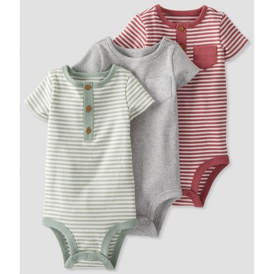 Baby Boys' 3pk Clay Henley Bodysuit - little planet by carter's Red 12M
