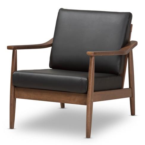 Venza Mid Century Modern Walnut Wood Faux Leather Lounge Chair Black Baxton Studio