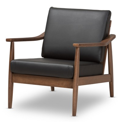 Venza Mid Century Modern Walnut Wood Faux Leather Lounge Chair Black    Baxton Studio