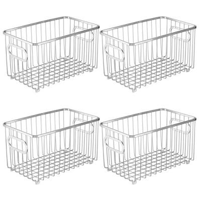 """mDesign Metal Kitchen Pantry Food Storage Basket Bin, 10"""" Long, 4 Pack"""
